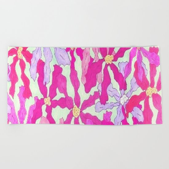 Bright and Hazy Floral Beach Towel