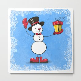 Snowman with Christmas gift. Metal Print