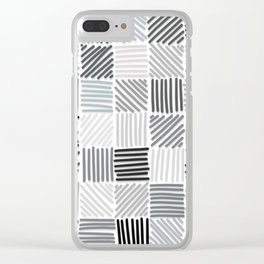 Grey lines Clear iPhone Case