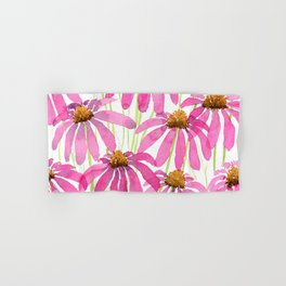 Pink Coneflowers On White - Watercolor Floral  Hand & Bath Towel