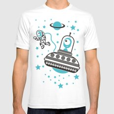 space Blue! Mens Fitted Tee MEDIUM White