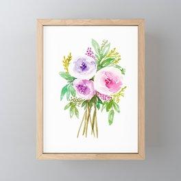 Watercolor Floral Bouquet  Framed Mini Art Print