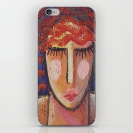Wavy Red Hair Abstract Portrait of a Woman on OSB Board iPhone Skin