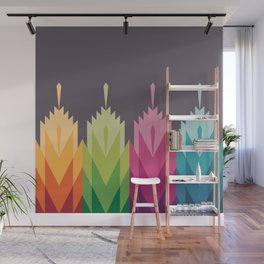 Tribal Feather Pattern Bright Wall Mural