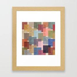 Vintage Colorful Squares Framed Art Print