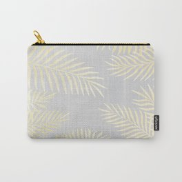 Gold palm leaves on grey Carry-All Pouch
