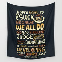 risa rodil Wall Tapestries featuring Don't Be Afraid To Suck by Risa Rodil