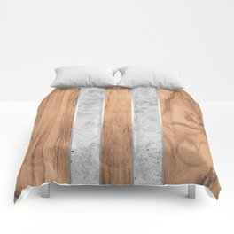 Wood Grain Stripes - Concrete #347 Comforters