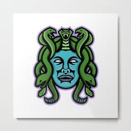 Medusa Greek God Mascot Metal Print
