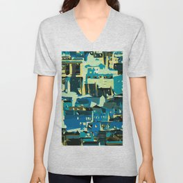 blue yellow green and dark blue geometric graffiti painting abstract background Unisex V-Neck