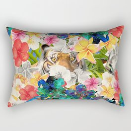tiger and colorful flowers Rectangular Pillow