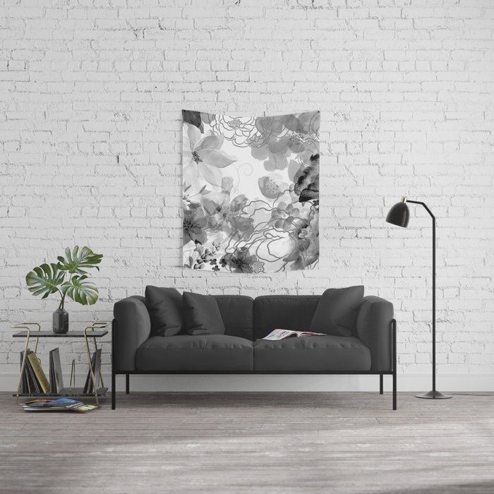 Rosie Outlook - grayscale Wall Tapestry