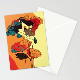 Poppies Girl in the Wind Stationery Cards