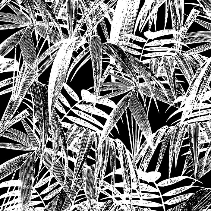 Black And White Vintage Tropical Palm Leaf Pattern Comforters