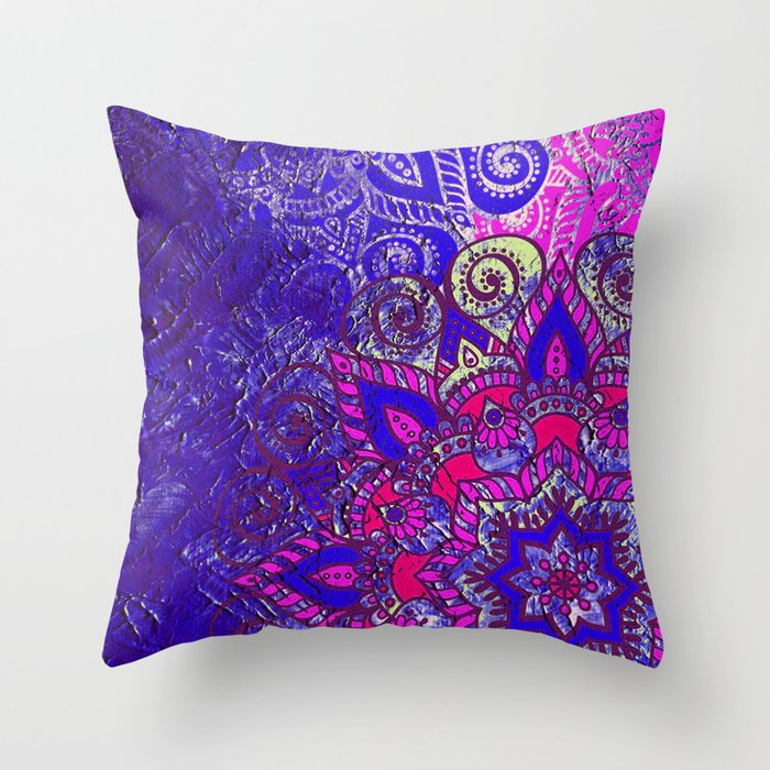 -A15- Colored Moroccan Mandala Artwork. Throw Pillow