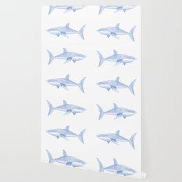 Blue Shark Pattern Wallpaper