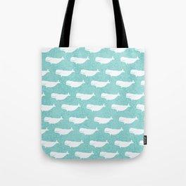 Turquoise beluga pattern Tote Bag