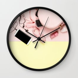 Flat lay with trendy accessories, close up Wall Clock