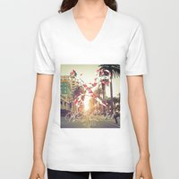 santa monica V-neck T-shirts featuring Santa Monica Blvd. by Kurt Schawacker