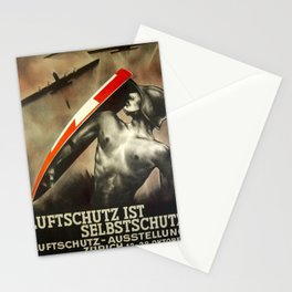 1935 Vintage Swiss Civil Defense Anti-Aircraft Exhibition Advertisement Poster by Otto Baumberger Stationery Cards