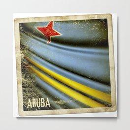 Grunge sticker of Aruba flag Metal Print