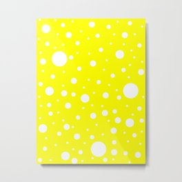 Mixed Polka Dots - White on Yellow Metal Print
