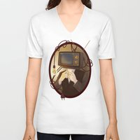 tv V-neck T-shirts featuring TELEVISION by FISHNONES