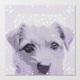 Curious little dog waiting for you - funny dog portrait Canvas Print