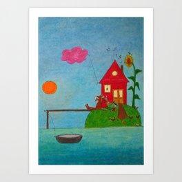 sunflower island Art Print