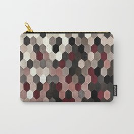 Hexagon Pattern In Gray and Burgundy Autumn Colors Carry-All Pouch