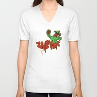 beaver V-neck T-shirts featuring Zombie Beaver  Zombiever! by Cheryl Francis