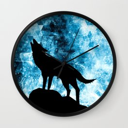 Howling Winter Wolf snowy blue smoke Wall Clock