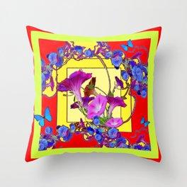 Red & Yellow Morning Glory Vines & Blue Butterflies Art Throw Pillow