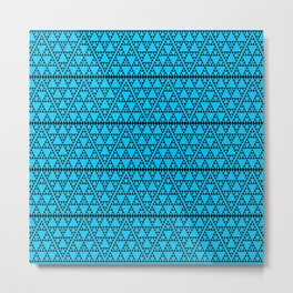 Triangles in triangles on Blue Metal Print