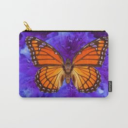 Orange Monarch Butterfly On Ultra-violet Carry-All Pouch