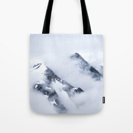 Minimalist MIsty Foggy Mountain Twin Peak Snow Capped Cold Winter Landscape Tote Bag