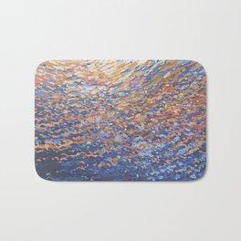 Illuminated Ocean Waves at Sunset Bath Mat