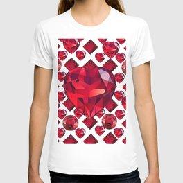 RUBY GEMS JEWELED  VALENTINE RUBY HEARTS  DESIGN T-shirt
