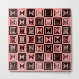 Mid Century Modern Geometric Checker 821 Black and Coral Metal Print