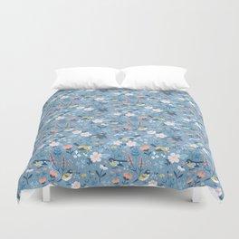 Birds & Blooms (Blue) Duvet Cover