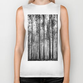 trees in forest landscape - black and white nature photography Biker Tank