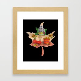 Maple Leaf Fall (on black) Framed Art Print