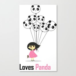 Girl Loves Panda T-Shirt - Panda Lovers T-Shirt For Women Canvas Print