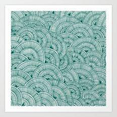 Swirls Green Art Print