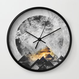 One mountain at a time - Black and white Wall Clock