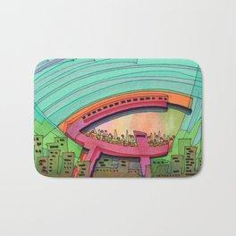 City Sky Cave Architectural Illustration 70 Bath Mat