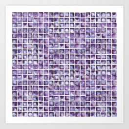 Purpe Waterclor Tile Pattern Art Print