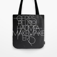The Five Dwarf Planets Tote Bag
