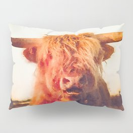 Highland cow watercolor painting #2 Pillow Sham