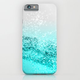 Silver Gray Aqua Teal Ocean Glitter #1 #shiny #decor #art #society6 iPhone Case
